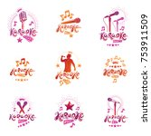 set of vector emblems and... | Shutterstock .eps vector #753911509