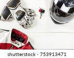 overhead view of biker...   Shutterstock . vector #753913471