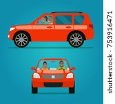 red car two angle set. car with ... | Shutterstock .eps vector #753916471