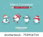 vintage christmas poster design ... | Shutterstock .eps vector #753916714