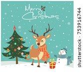 vintage christmas poster design ... | Shutterstock .eps vector #753916744