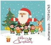 vintage christmas poster design ... | Shutterstock .eps vector #753916765