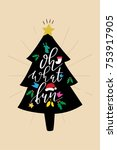 christmas quote  lettering.... | Shutterstock .eps vector #753917905