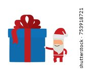santa claus with a gift  vector ... | Shutterstock .eps vector #753918721