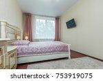 simple bedroom with window and... | Shutterstock . vector #753919075
