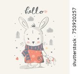 Stock vector cute little bunny gilrl with a toy cartoon hand drawn vector illustration can be used for baby t 753920257