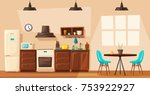 kitchen interior. cartoon... | Shutterstock .eps vector #753922927