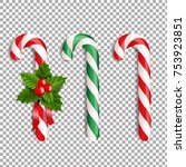 xmas lollipop set with gradient ... | Shutterstock .eps vector #753923851
