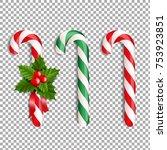 xmas lollipop set with gradient ... | Shutterstock .eps vector #753923851