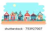 beach bungalow hotel. summer... | Shutterstock .eps vector #753927007
