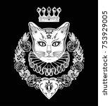 black cat silhouette portrait... | Shutterstock .eps vector #753929005