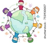 illustration of stickman kids... | Shutterstock .eps vector #753930007