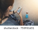 back view of young sportive...   Shutterstock . vector #753931651