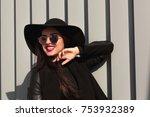 street portrait of happy young... | Shutterstock . vector #753932389