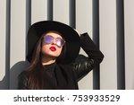 street portrait of fashionable... | Shutterstock . vector #753933529