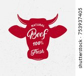 beef logo  label  print  poster ... | Shutterstock .eps vector #753937405