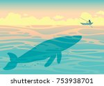 silhouette of big whale and... | Shutterstock .eps vector #753938701