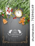 christmas vector top view... | Shutterstock .eps vector #753944149
