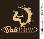 bali surving adventure  surfer... | Shutterstock .eps vector #753945955