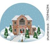 family manor house in cartoon...   Shutterstock .eps vector #753946294