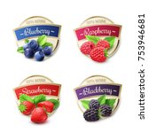 berry labels realistic set with ... | Shutterstock . vector #753946681