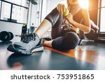 asian woman exercising in the...   Shutterstock . vector #753951865