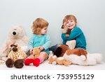 happy preschool age children... | Shutterstock . vector #753955129