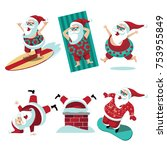 cartoon santa claus summer and...