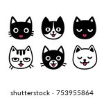 cute cartoon cat drawing set ... | Shutterstock . vector #753955864