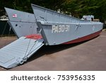 Small photo of Ouistreham, Riva Bella; France - july 17 2017 : landing barge in the Grand Bunker, museum of 6 june 1944
