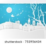 vector christmas scene with fir ... | Shutterstock .eps vector #753956434