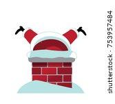 cartoon santa claus stuck... | Shutterstock .eps vector #753957484