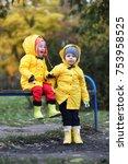 children in the autumn park... | Shutterstock . vector #753958525