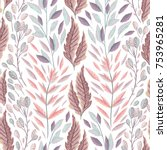 seamless pattern with marine... | Shutterstock .eps vector #753965281