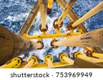 offshore drill yellow oil and... | Shutterstock . vector #753969949
