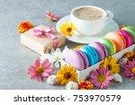 photo of cake macarons  gift... | Shutterstock . vector #753970579
