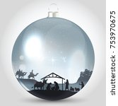 christmas ball with nativity... | Shutterstock .eps vector #753970675