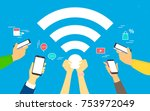 wifi concept vector... | Shutterstock .eps vector #753972049
