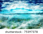 morning misty landscape with...   Shutterstock . vector #75397378