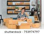 young entrepreneur  teenager... | Shutterstock . vector #753974797