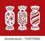 set of christmas sweets.... | Shutterstock .eps vector #753975001
