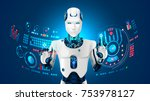 robot humanoid works with a... | Shutterstock .eps vector #753978127