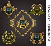 set of golden royal shields... | Shutterstock .eps vector #753979369