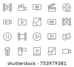 video thin line icons set. ... | Shutterstock .eps vector #753979381