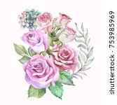 watercolor roses bouquet | Shutterstock . vector #753985969
