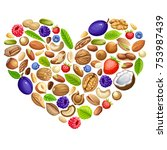 poster of nuts and forest... | Shutterstock .eps vector #753987439