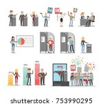 people voting set. polls and... | Shutterstock .eps vector #753990295