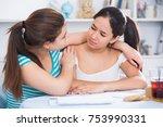 sad teenager girl sitting at... | Shutterstock . vector #753990331