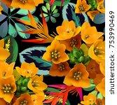 tropical flovers seamless... | Shutterstock .eps vector #753990469