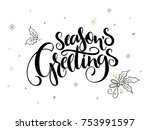 vector hand lettering christmas ... | Shutterstock .eps vector #753991597